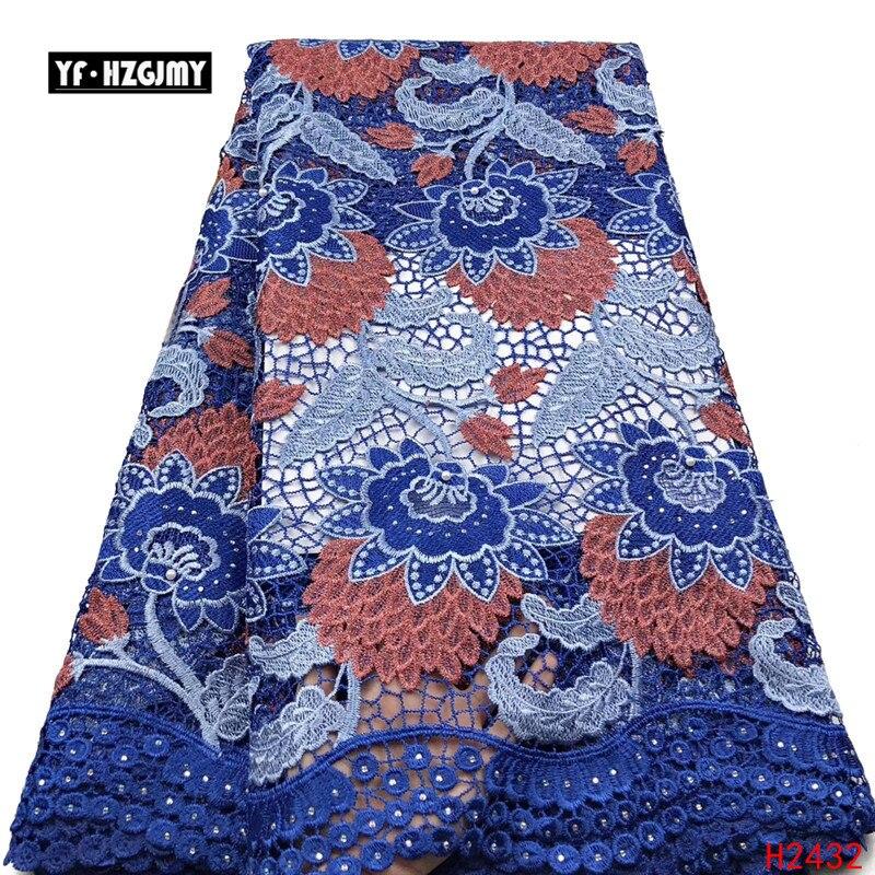 YF HZGJMY Nigeriano Africano Lace Tecidos de Alta Qualidade 2019 Bordado Tecidos de veludo Francês Rendas Projeto Especial Com Pedras A2691 - 5
