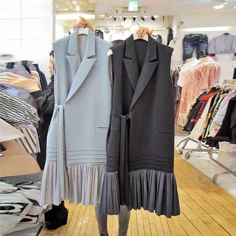 NiceMix 2019 New Elegant Ruffles Slim Long Vests Female Cardigan Spring Summer Pocket Bow Sashes Waistcoat Women Black Sleeveles