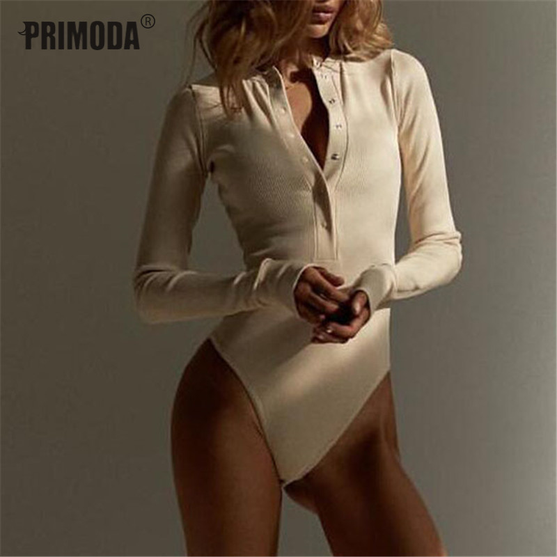 2019 Autumn Women Sexy V Neck Knitted Bodysuit Long Sleeve Buttons Rompers Casual One-pieces Bodysuit Club Party Outfits PR446M