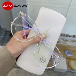 UVLAIK Transparent Computer Glasses Frame Women Men Anti Blue Light Round Eyewear Blocking Glasses Optical Spectacle Eyeglass