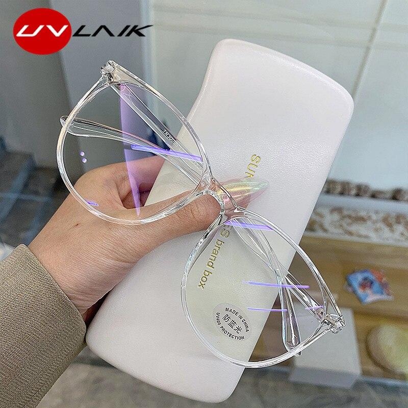 UVLAIK, gafas transparentes para ordenador, Marco para mujeres y hombres, gafas redondas con luz Anti azul, gafas de bloqueo, gafas ópticas, gafas