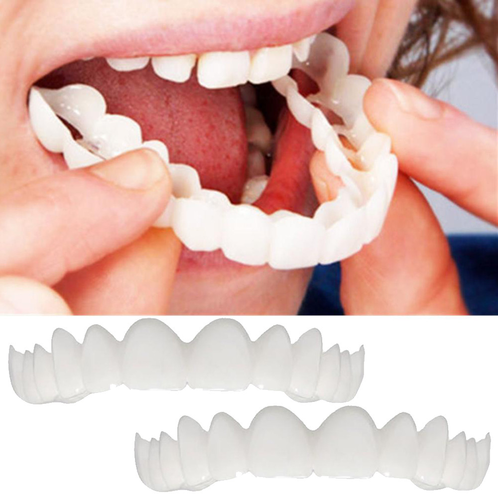 2Pcs Comfort Fit Flex Cosmetic Teeth Denture Teeth Top Cosmetic Tooth Protection Simulated Bracket