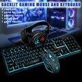 Игровая клавиатура  мышь  гарнитура  набор  1600DPI  водонепроницаемая  с подсветкой  аксессуары  домашняя Механическая Проводная Подсветка USB