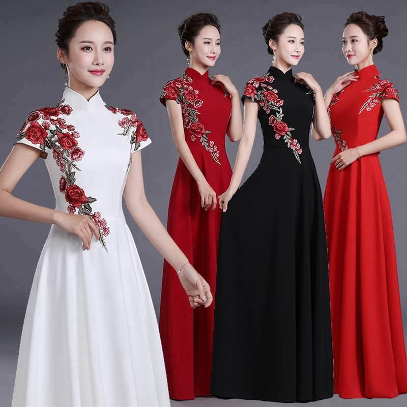 2020 Vestido De Noiva Adult Fashion Performance Clothing Female Large Chorus Group Host Long Thin Stage Evening Dress Skirt