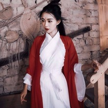 Outfit Hanfu Chinese-Style Female Costume Kimono Tang Ming Dynasty White Woman Song Red