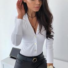 Женские Боди, модные, одноцветные, с длинным рукавом, рубашка, v-образный вырез, сексуальный, на пуговицах, Облегающий комбинезон, боди, манга, larga mujer W
