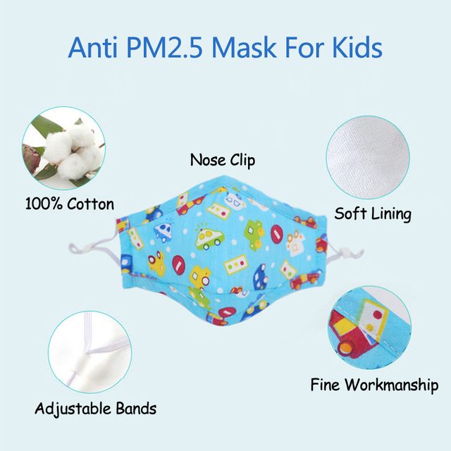 PM2.5 Filter Face Mask For Children Kids Girls Boys Cotton Anti Dust Mouth Masks 2pcs Activated Carbon Breathable Respirator 1