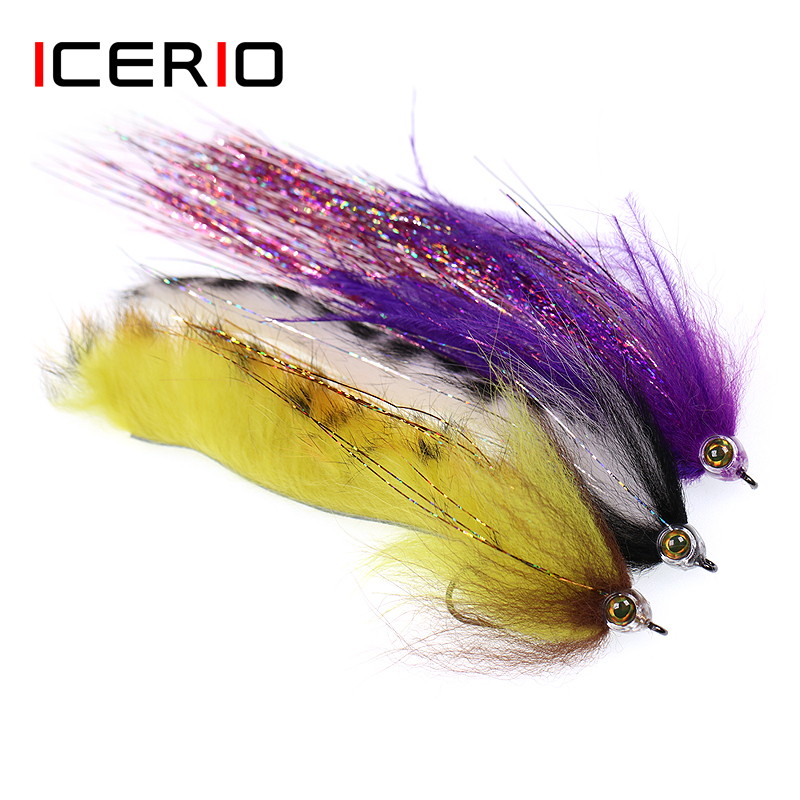 ICERIO 1Piece Fish Skull Rainbow Zonker Streamers Saltwater Flies Trout Bass Fishing Fly Lure Baits 2/0