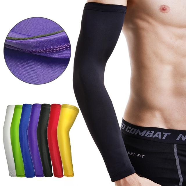 Respirável esportes luvas de ciclismo braços anti-uv proteção do braço correndo basquete cotovelo almofada fitness armguards aquecedores mangas 3