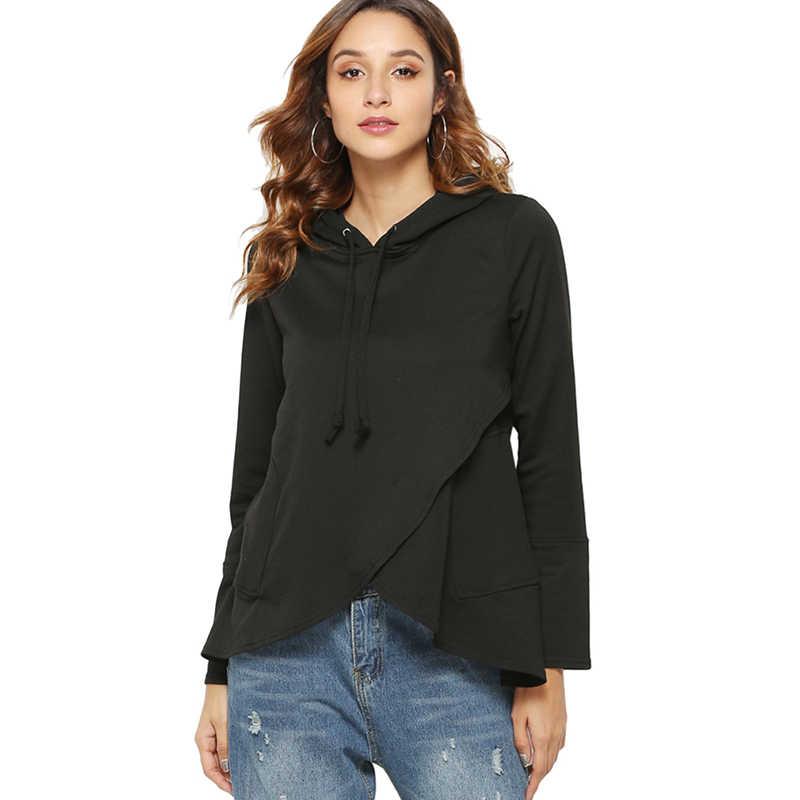 Frauen Vorne Saum Kreuz Unregelmäßigen Mit Kapuze Sweatshirt 2019 Herbst Mode Beiläufige Lose Frauen Langarm Warme Hoodies Pullover