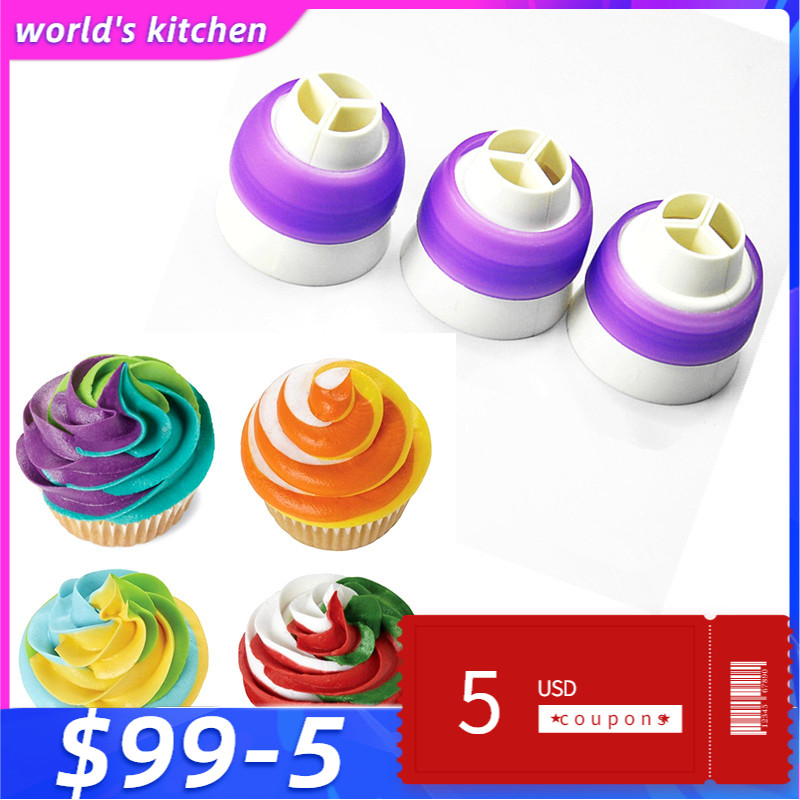 Dessert Decorators BARU Tri-color Cream Nozzle Coupler Icing Piping Bag Converter Cupcake Cake Decorating Tools 3 Sizes