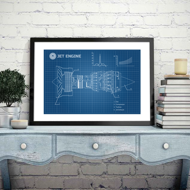 Airplane Jet Engine Canvas Poster Prints Industrial Aerospase Blueprint Wall Art Painting Picture Gift idea Wall Decoration image