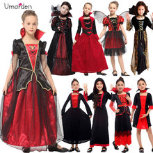 Fantasia gótica vampiress umorden, traje de vampiro para meninas, festa de halloween e natal