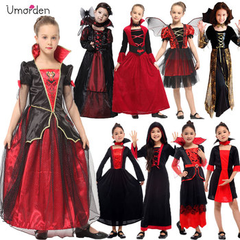 Umorden Gothic Vampiress Cosplay Girls Vampire Costume Kids Girl Collection Halloween Christmas Purim Party Fancy Dress baby girls christmas halloween costume witch vampire cosplay tutu dress kids princess tulle dress girl festival birthday dress