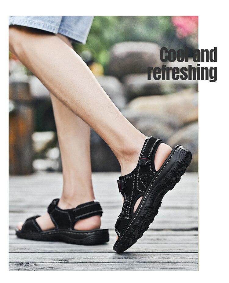 Sandálias masculinas de verão, couro respirável confortável,