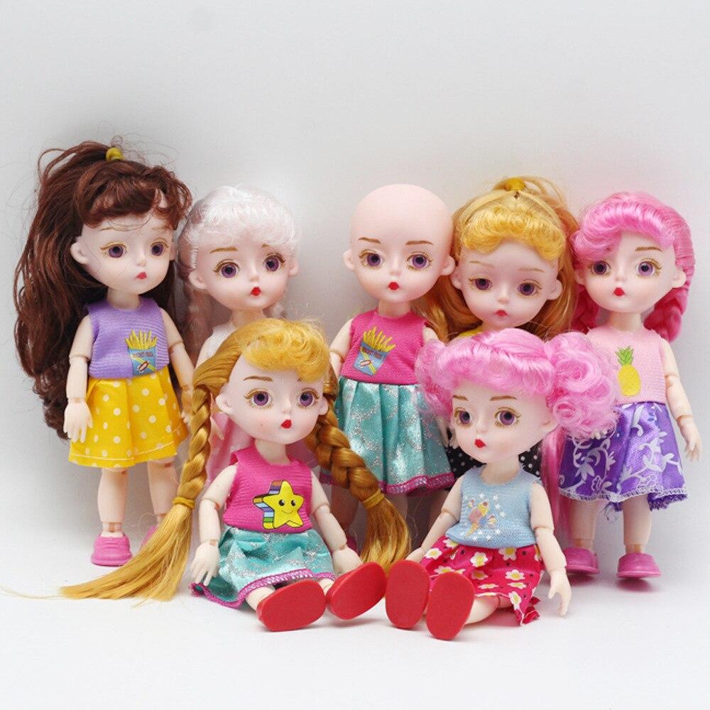 16cm BJD muñecas princesa muñeca ropa 13 Moveable Jointed Naked Body head 3D eyes DIY Dress Up Mini juguetes para niñas muñecasmuñeca infantil|Muñecas| - AliExpress