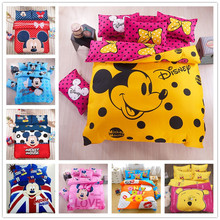 Disney Yellow Mickey mouse Bedding Set Duvet Cover pillowcase Christmas Gifts Adult Children bed set  Single Queen King size