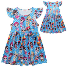 Girl Dresses New Surprise Cartoon Pattern Flying Sleeve Big Eye Doll Children's Dress сушка для салата tescoma handy
