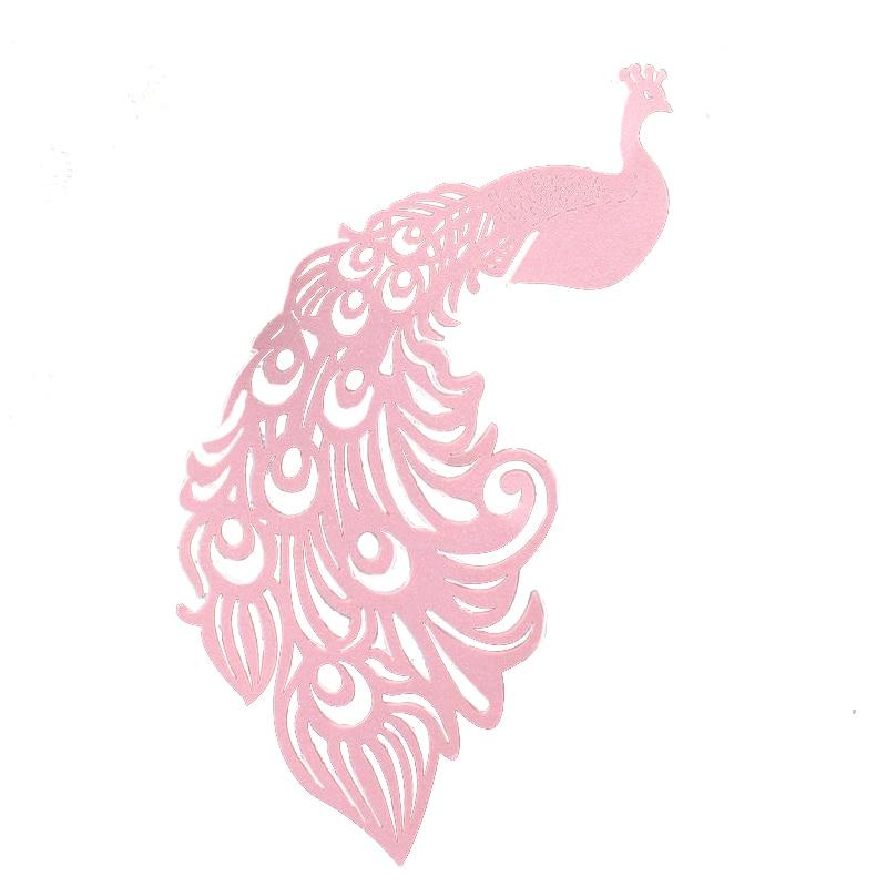 25 шт./лот лазерная резка Павлин вина стеклянная карта декоративная бумага для вечеринок Место Карты Свадебные украшения для винтажных свадебных сувениров - Цвет: Pink