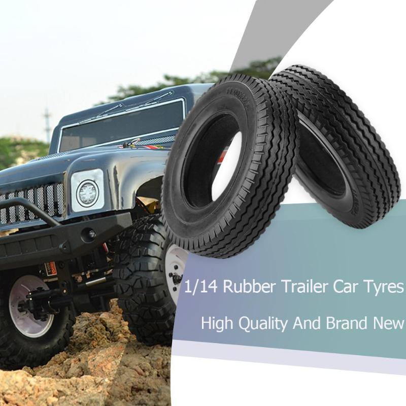 2pcs Rubber <font><b>RC</b></font> Car Toy Tyres Universal for <font><b>1/14</b></font> <font><b>Tamiya</b></font> Tractor <font><b>Truck</b></font> Blcak Durable Climbing Car Tire Toy Accessories image