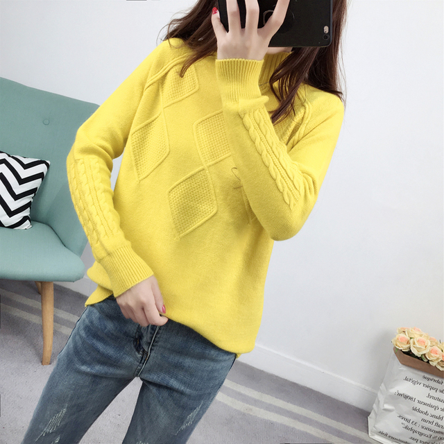 Ailegogo Sweaters 2019 Autumn Winter Solid Thick Turtleneck Casual Ladies Knitted Sweater Pullovers Women's Jumpers Tops 2