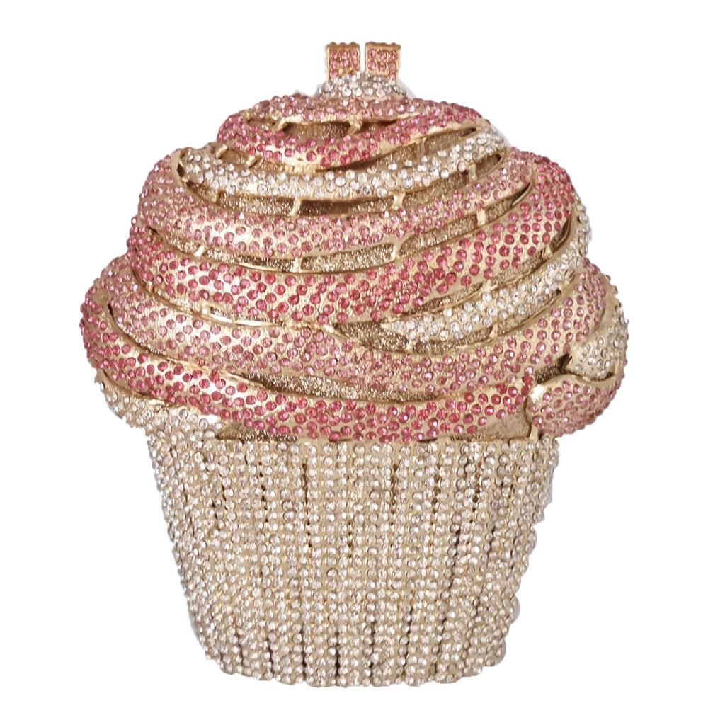 Boutique De FGG Ice cream Pink Women Crystal Evening Bags  Minaudiere Clutch Wedding Party Handbags Bridal Diamond BagTop-Handle  Bags