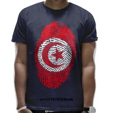 Men T shirt Tunisia Flag Fingerprint Country Rounded Collar Casual Tee funny t-shirt novelty tshirt women(China)