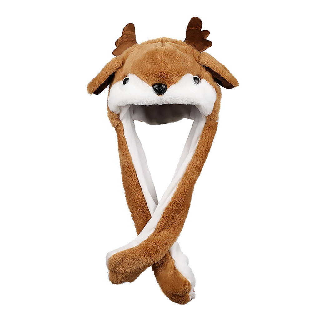 Kids Toys Reindeers Hat Ear Moving Jumping Hat Funny Plush Luminous Hat Cap For Women Girls, Cosplay Christmas Party Holiday Hat