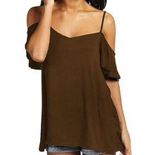 Sexy Women Leakage Shoulder T-shirt Slash Neck Short Sleeve Tops Loose Spaghetti Strap T-shirt Blouse Tunic Tops sexy fashion sexy midriff baring tops