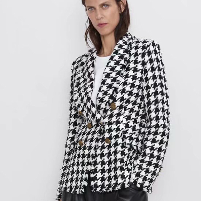 2019 Autumn Winter ZA Coat Women England Vintage Houndstooth Soft Tweed Sashes Oversize Drop-Shoulder Double-breasted Jacket
