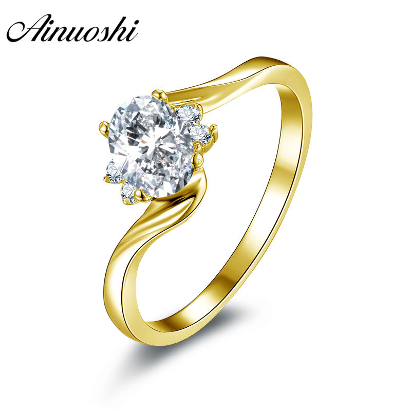 AONUOSHI Classic Oval Solitaire Ring Real 14K Solid White Yellow Gold Twisted Band Simulated Diamond Anillo