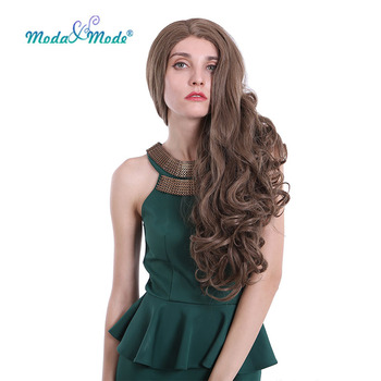 """Moda & Mode hair 26"""" Long Deep Wave Synthetic Lace Front Wig Blonde Daily Wigs Natural Hairline for women Heat Resistant"""
