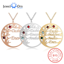 Customized Family Tree Necklace Personalized 925 Sterling Silver Mothers Fine Jewelry Sister Best Friend Nameplate Gift
