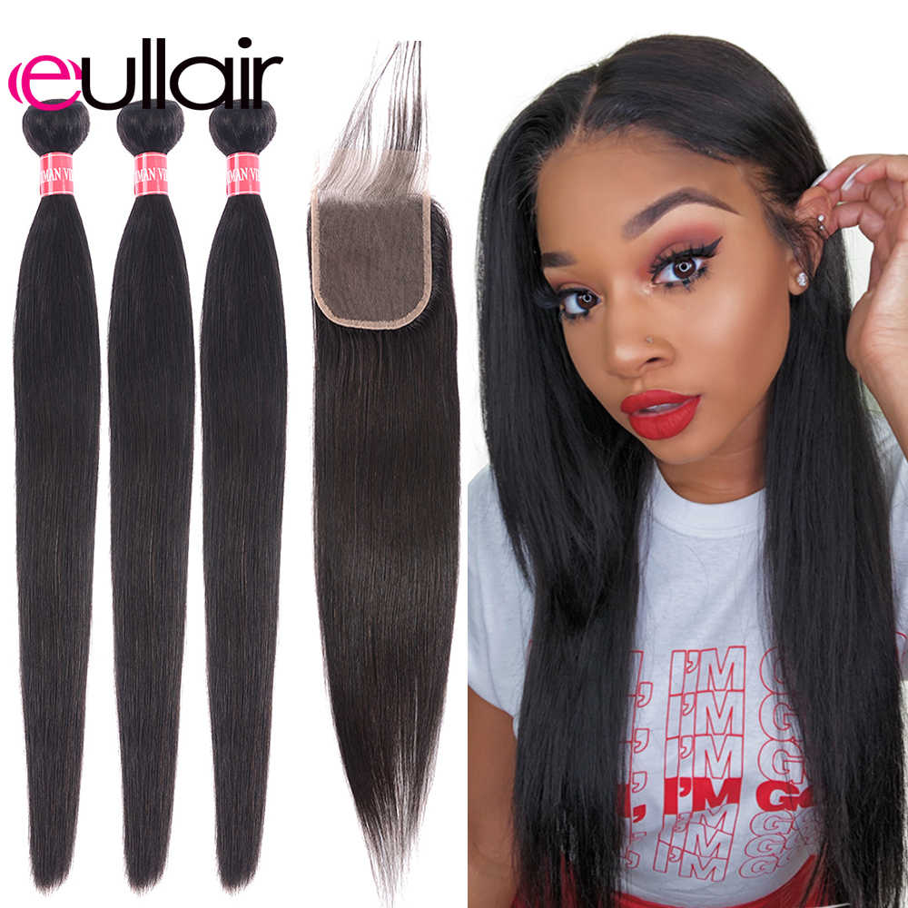 eullair Straight Hair Weave Bundles With Closure 3/4 PCS Brazilian Human Hair Bundles With Closure 4*4 Lace Remy Hair Extension