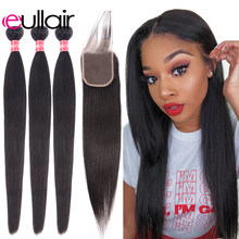 eullair Straight Hair Weave Bundles With Closure 3/4 PCS Brazilian Human Hair Bundles With Closure 4*4 Lace Remy Hair Extension(China)