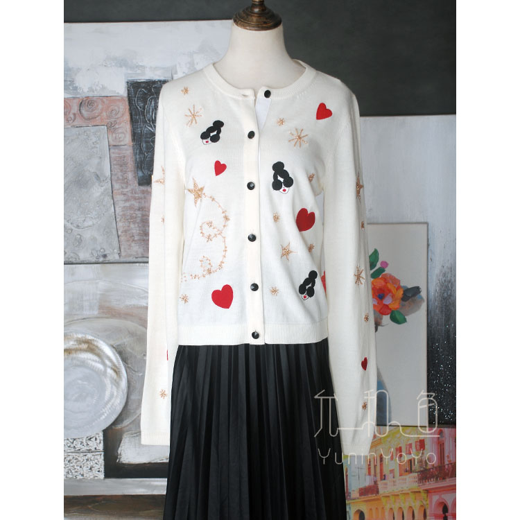 YUNINYOYO Lovly Embroidery With Heart Sunglasses Red Lips Dolls Heavy  Hand-made Beads Star Snowflakes 100% Wool Women Cardigan
