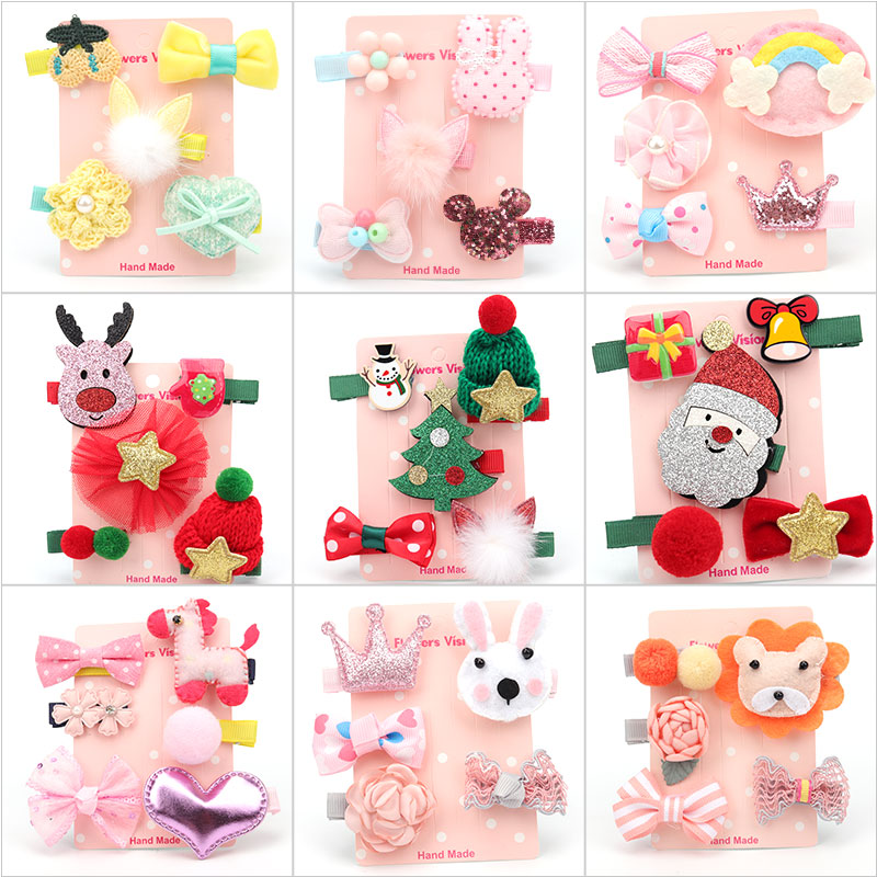 30 Style Girls Cartoon Hair Clips Christmas Gifts Children Bow Crown Hairpin Hair Accessories Birthday Holiday Gift Wholesale