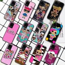 LOL Cute Cartoon Doll Girl Phone Case For Samsung Galaxy S Note 6 7 8 9 10 E 20 UITRA FE 21 Plus Edge black Shell Painting Funda