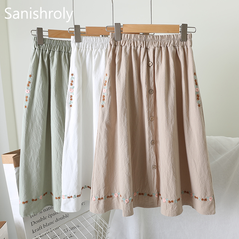Sanishroly Autumn Women Midi Long <font><b>Skirt</b></font> Floral Embroidery Cotton Linen <font><b>Skirts</b></font> Female A-Line <font><b>Skirt</b></font> High Waist <font><b>Ball</b></font> Gown <font><b>Skirt</b></font> 683 image