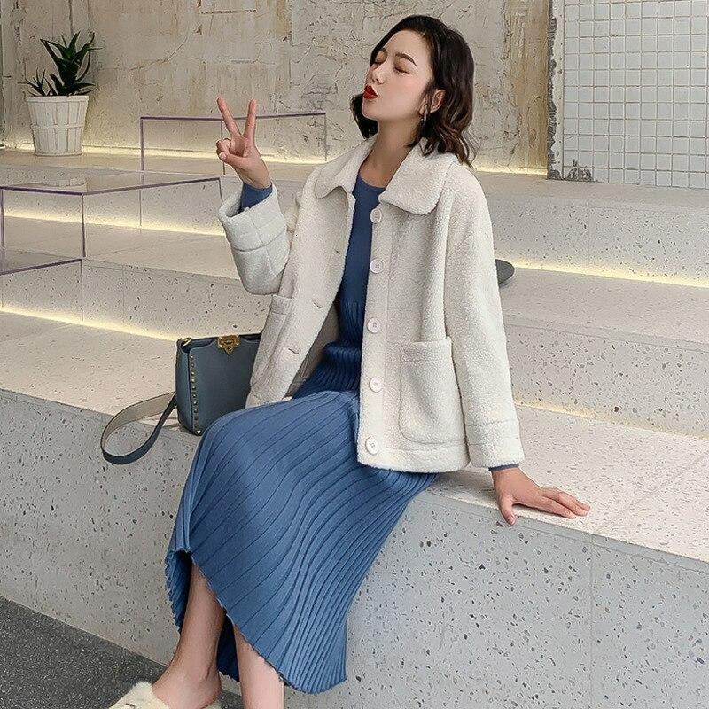 Élégant couleur unie veste femmes mode 2019 automne hiver simple boutonnage épais chaud manteau doux court vestes femme