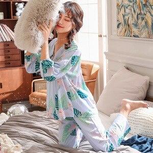 Image 4 - Lisacmvpnel dokuz parçası kol kadın pijama takım pamuk ipek V kurşun tatlı pijama