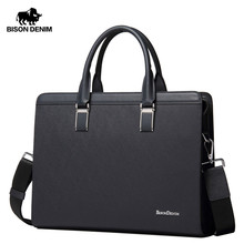BISON DENIM Genuine Leather Handbag Men Business Messenger Bag 14'' Laptop Tablet leather Shoulder Bag Crossbody Male bags N2317(China)