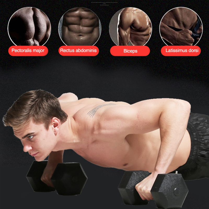 Solid Barbell Body Workout Octagonal Dumbbell Single Sports Black Bodybuilding image