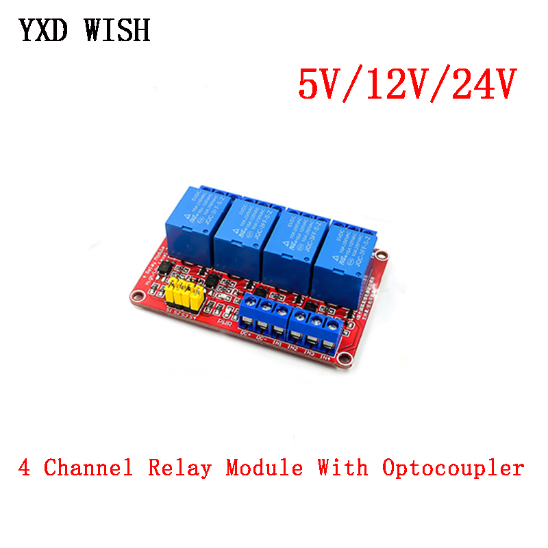 4 Channel 4 Road Relay Module With Optocoupler isolation Support High and Low Level Trigger Relays Module 5V 12V 24V For Arduino