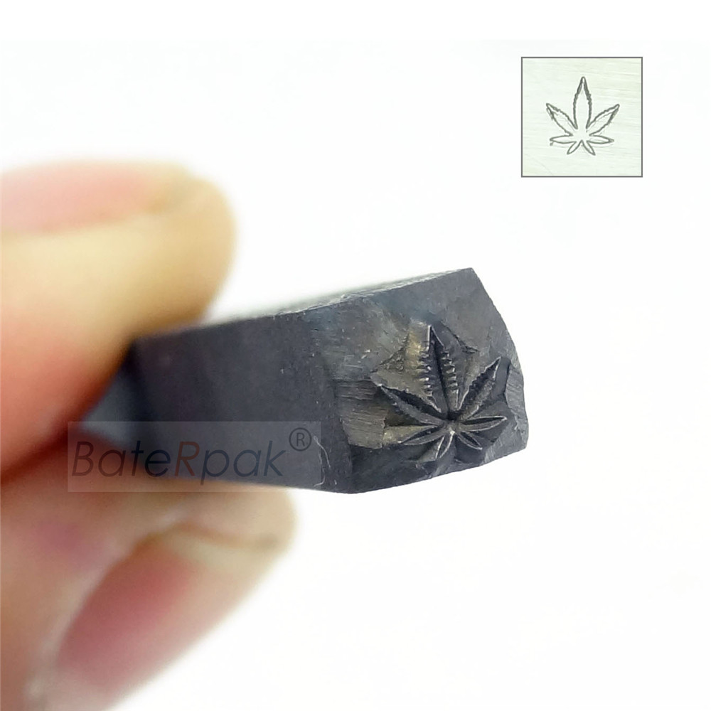 BateRpak Leaf logo 4mm DIY jewelry STAMP PUNCH,Manual stroke punch stamps tools,bracelet metal stamp,Custom-made products