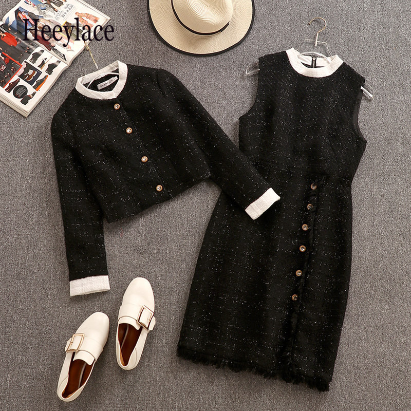 Winter 2019 Elegant 2 Pieces Tweed Dress And Coat Sets Women High Qaulity Short Jacket + Single-breasted Vest Dress Suits S-XL