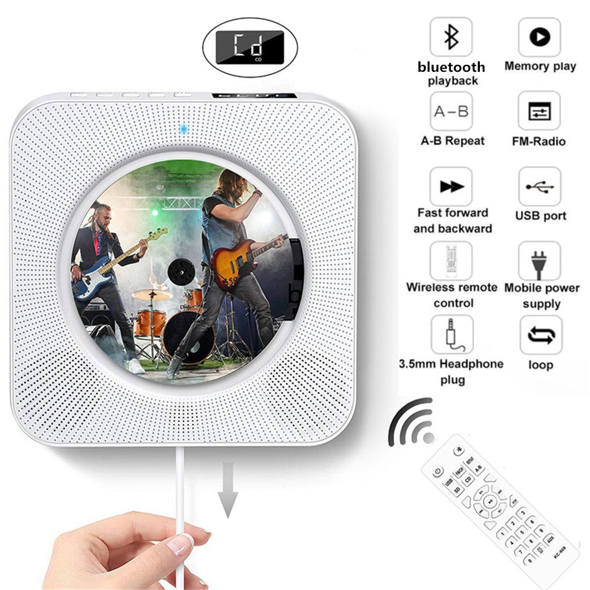 Lecteur CD mural montable bluetooth Portable maison boîte Audio avec télécommande Radio FM haut-parleurs HiFi intégrés MP3 100-240V