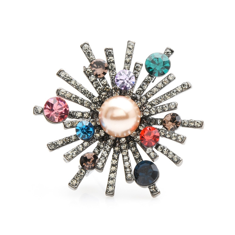 Multicolor Rhinestones Simulated-Pearl Flower Round Brooch Pins Scarf Pin Wedding Brooches