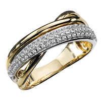 Huitan-Anillos cruzados de alta calidad para mujer, joyería de moda para boda, compromiso, fiesta, cristal brillante de circón