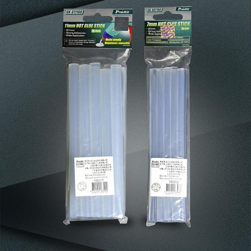 Proskit Strong Viscous Hot Melt Glue Stick 10Pcs Hot Melt High Viscosity Transparent Hot Melt Glue Gun Glue Stick 7mm/11mm*160mm